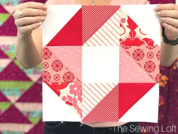 The Pinwheel Star quilt block is easy to make, perfect for stitching your scraps and great for all skill levels. Available in 2 finished sizes.