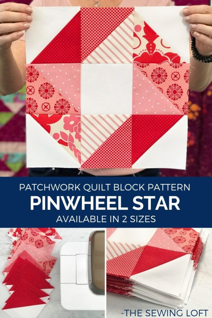 The simple patchwork construction of the Pinwheel Star quilt block makes it the perfect project for the newbie quilter and fun for the experienced quilter to play with their scraps.