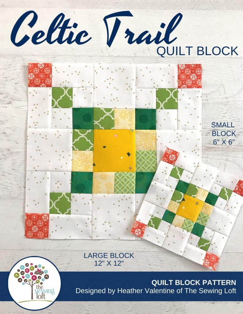 Grab your scraps and start blazing a trail with the Celtic Trail quilt block pattern from The Sewing Loft. Easy to sew and available in 2 sizes.