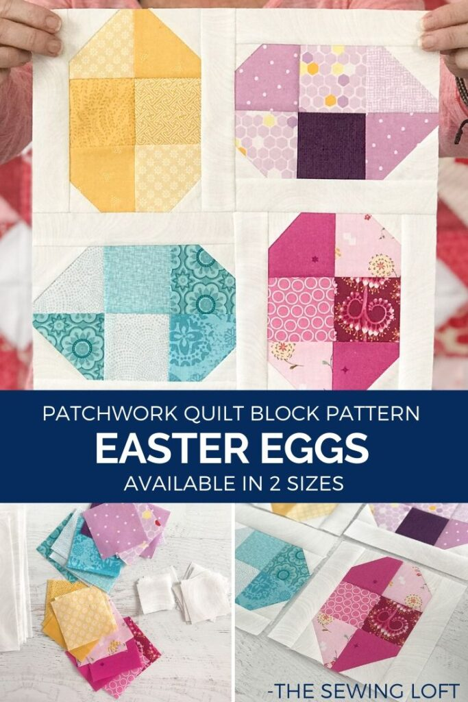 The easy to make Easter Easter Eggs Quilt is perfect for the newbie quilter. The patchwork construction is easy to make and perfect for scraps.