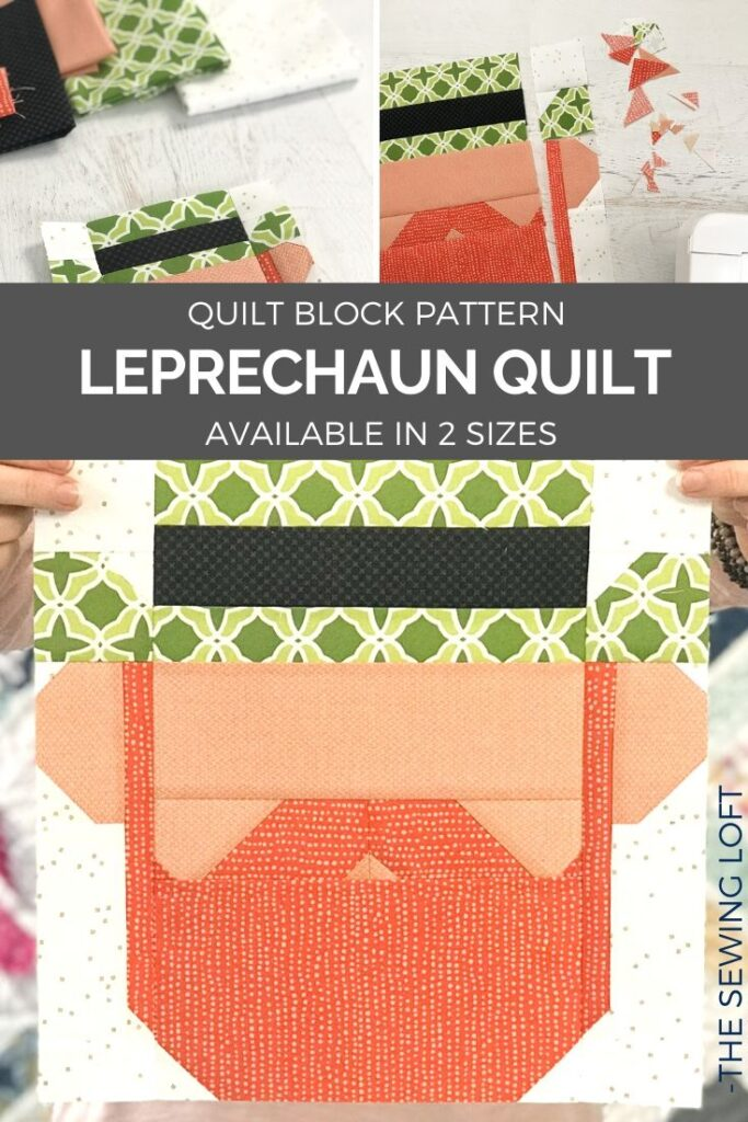 Create something fun for St. Patrick's Day with this adorable patchwork Leprechaun quilt block. Simple construction and available in 2 finished sizes.