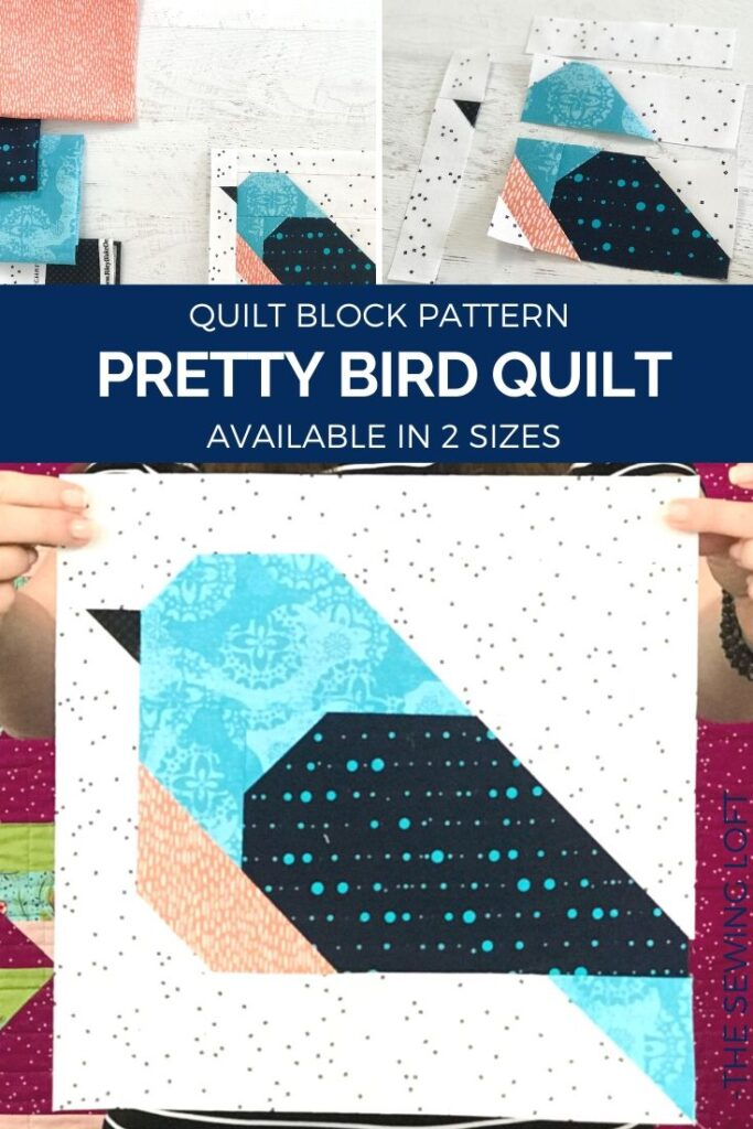 Transform your fabric scraps into a colorful flock with the new Pretty Bird Quilt Block from The Sewing Loft. Easy to make and available in 2 sizes.