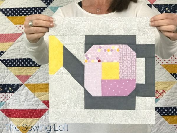 Turn your scraps into something fun with this easy to make patchwork quilt block. The Watering Can quilt block is available in 2 sizes and requires no special tools or templates.