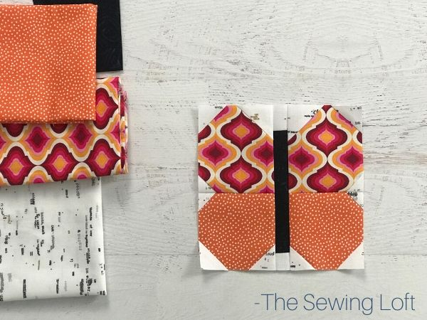 Pretty fabrics pulled to stitch up the Butterfly Beauty quilt block pattern